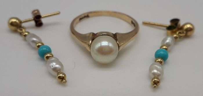 Pearl & Turquoise Stone - 9K Yellow gold - Earrings, Ring