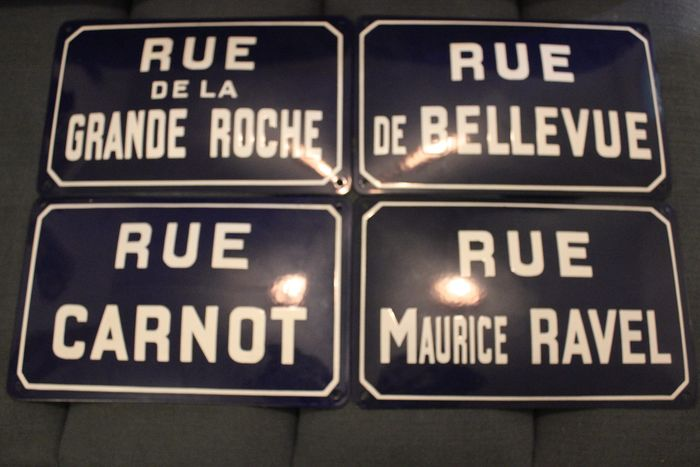 4 curved enamelled plates street names excellent condition - Steel