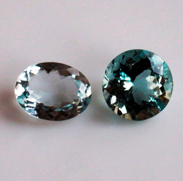 2 pcs  Aquamarijn - 4.35 ct
