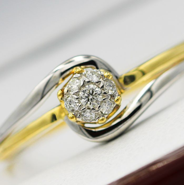 18 kt. White gold, Yellow gold - Ring - 0.15 ct Diamond