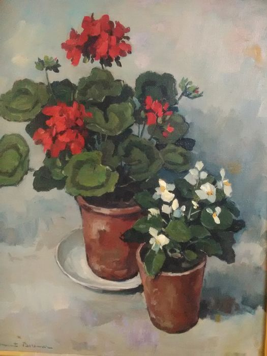 Clement Bezemer  ( 1910-2002)  - Stilleven met geraniums in pot.