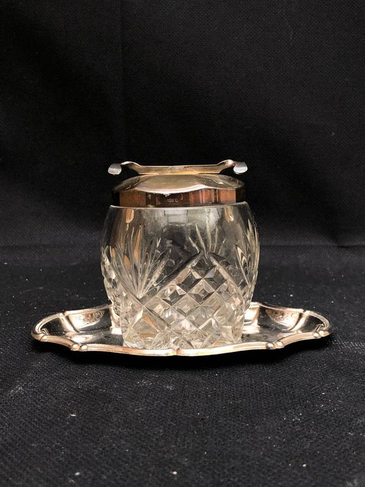 Suger Pot with Tray - Crystal, Silverplate
