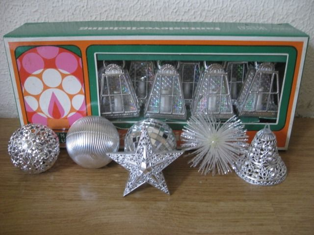VINTAGE Christmas Ornaments GLASS Unknown SPINNER Lantern x10