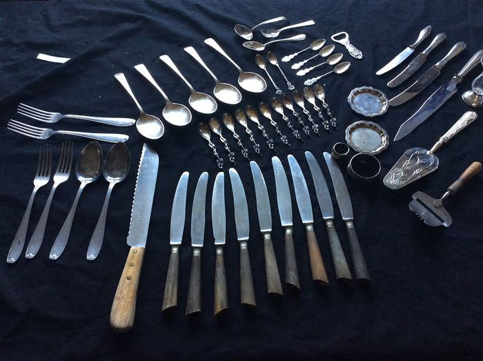 Collection of silver-plated and silver cutlery (53) - silver plated / silver