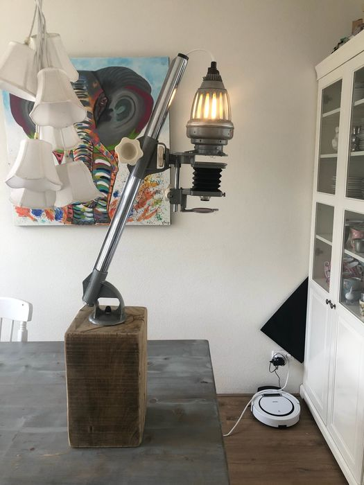 Meopta - Floor lamp, Vintage Opemus industrial lamp, made from a Meopta photo negative magnifier