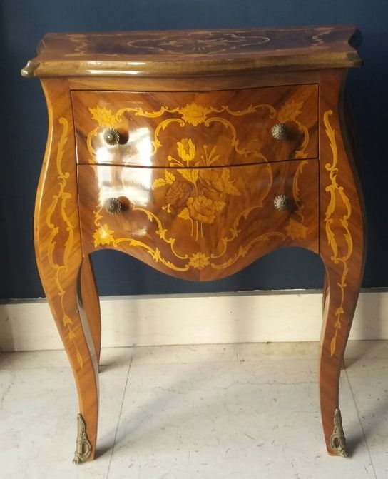 Side table, with two drawers and floral marquetry - Louis XV Style