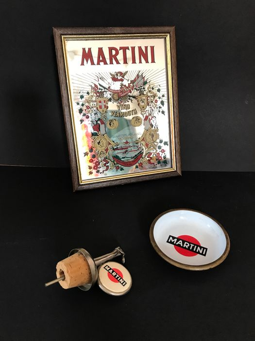 Martini advertising enamel sign, martini mirror and vintage martini spout (3) - Iron (cast/wrought), Wood