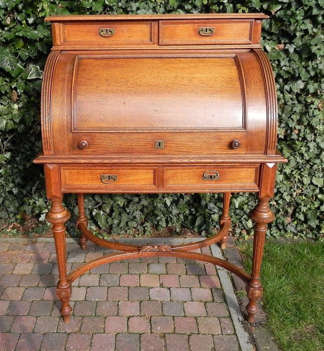 Cylinder desk with piano stool - Neoclassical Style - Oak, brass - 1815-1848