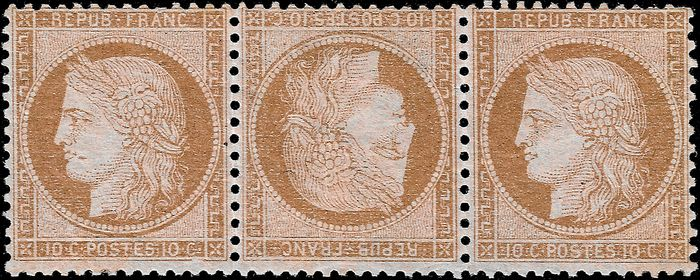 France 1873 - Ceres 3rd republic 10 cents tête-bêche (head-to-toe) pair in a strip of 3 - Yvert 58 c