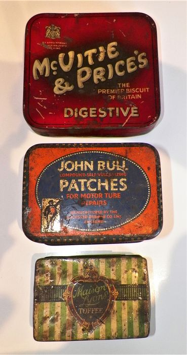 3 x 1930's Advertising Tins. John Bull Patches - Maison Lyons Toffee - Mc. Vitie & Price's Sample - Steel