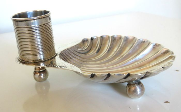 Victorian Silver Shell Dish With Candleholder  - .925 silver - England - 1889