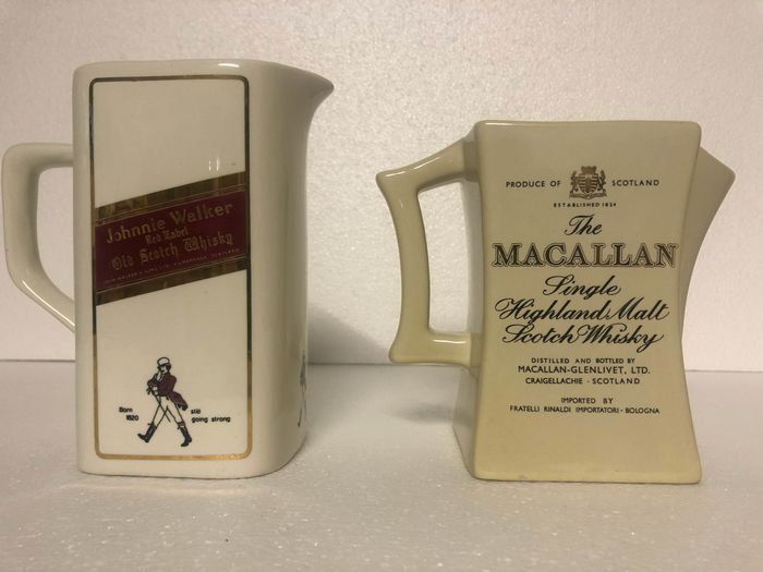 Johnnie Walker Red & The Macallan   - Whiskey Jugs (2) - Ceramic