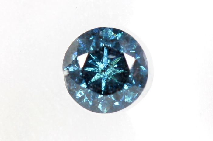 Diamant - 0.45 ct - Brillant - Deep  Blue - * NO RESERVE PRICE *