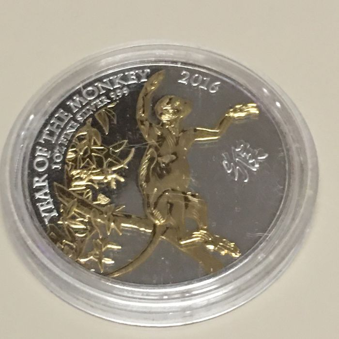 "Reino Unido - 2 Pound 2016 - ""Year of the Monkey"" - 24k Goldapplikation - 1 Oz - Plata"