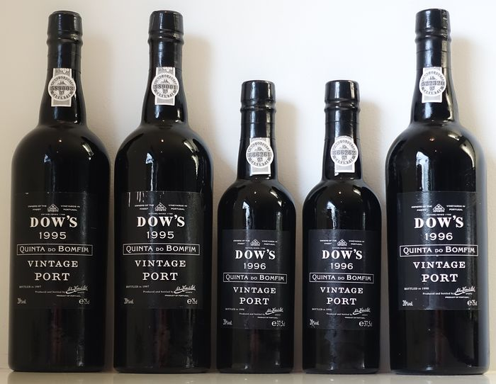 Dow's Quinta do Bomfim: 2x 1995 (0.75L) & 2x 1996 (0.375L) & 1x 1996 (0.75L) - 5 bottles in total