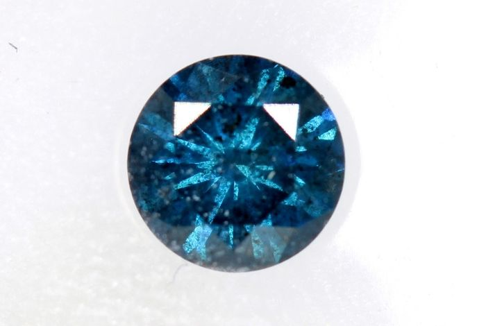 Diamond - 0.41 ct - Brilliant - Deep  Green Blue - * NO RESERVE PRICE *