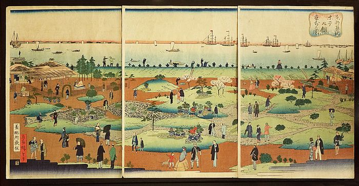 "Original woodblock print triptych - Utagawa Hiroshige III (1842–1894) - ""Illustration of the Front Garden of the Tsukiji Hotel in the Eastern Capital"" 東都築地ホテル館庭前の図 - ca. 1868-1872"