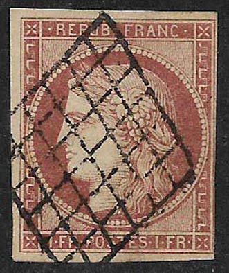 France 1849 - Type Ceres from 1849 - Yvert 6B Carmin Brun