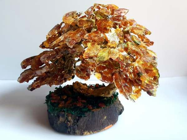 Amber (fossilized resin) Hand crafted real amber luck bonsai tree - 24×26×24 cm - 690 g - (1)