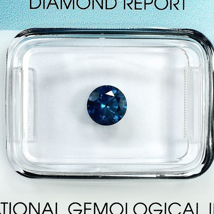 Diamant - 0.72 ct - Brillant - Fancy Deep Blue - I2