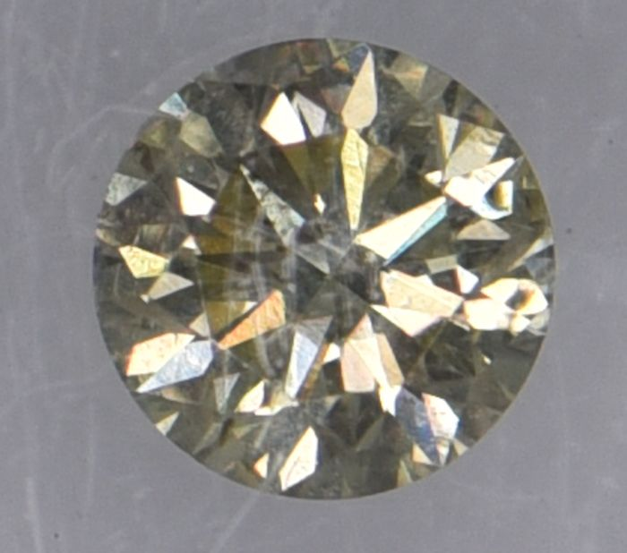 1 pcs Diamond - 0.25 ct - Round, No Reserve Price!  - light greenish yellow - SI1