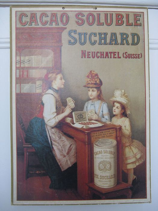 Antique Advertising Plate Cacao Soluble Paris - Cardboard