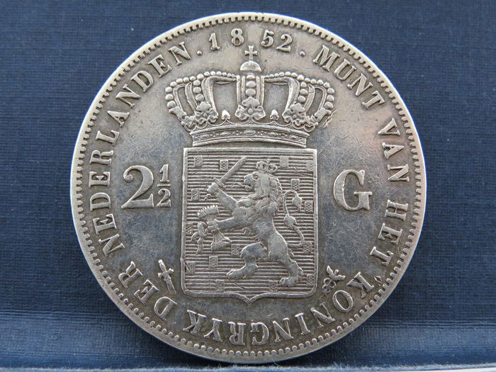 The Netherlands - 2 1/2 Gulden 1852a Willem lll - Silver