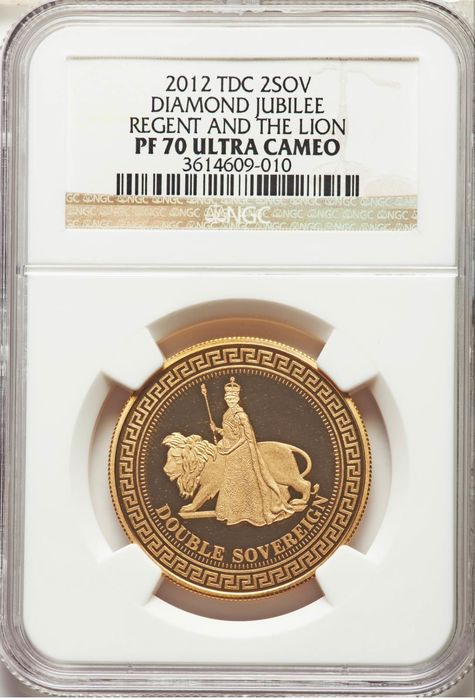 Tristan Da Cunha - Double Sovereign 2012 'Diamond Jubilee' in NGC Slab 16 grams 917/1000 - Gold