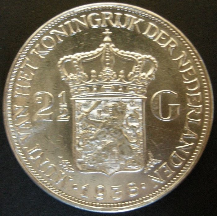 The Netherlands - 2,5 Gulden 1938 - Variant Grof Haar Wilhelmina - Silver