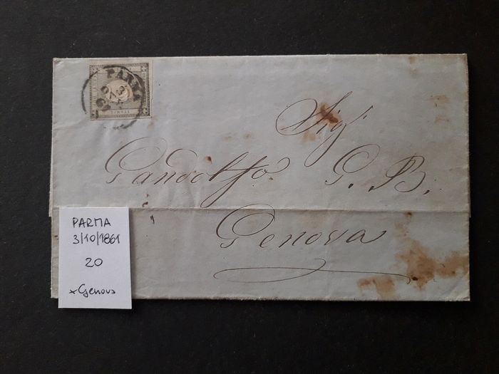 Sardinia 1861 - Four letters with stamps for newspapers, of 1 and 2 cents. - Sassone NN. 19, 20