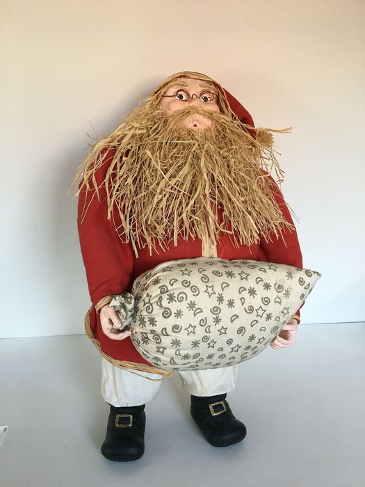 shop window shop decoration; handmade large Santa Claus (1) - ceramic, textile, polyethylene, tempex, raffia