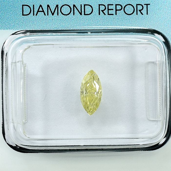 Diamond - 0.52 ct - Marquise - Natural Fancy Light Yellow - Si1 - NO RESERVE PRICE