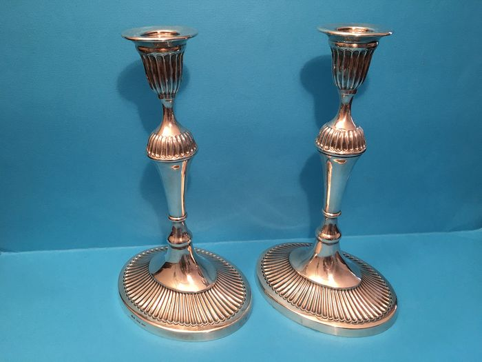 Candlestick (2) - .925 silver - Portugal - Late 20th century