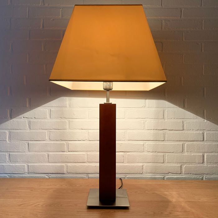 Lightmakers - Large Table / Salon Lamp with modern shade (1) - Steel (stainless)