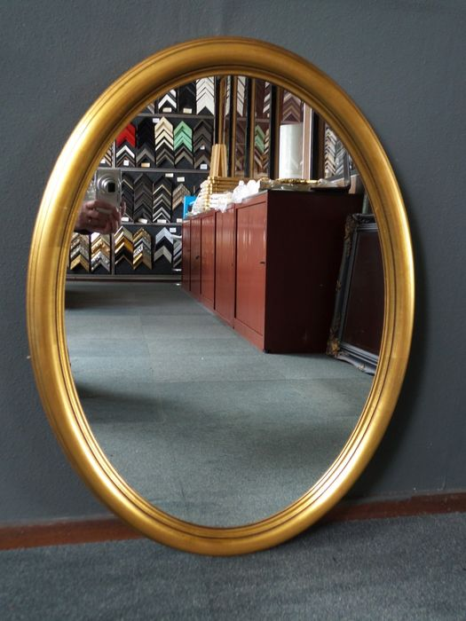 Large classic oval mirror - Glass, Goldplate, Wood