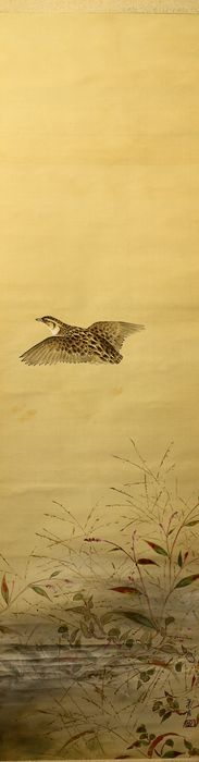 Hengende skriftrull - Silke - Quail - With signature and seal 'Sokyo' 巣居 w/box - Japan - ca. 1930-40-tallet (tidlig showa-periode)