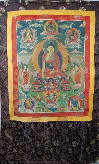 Thangka (1) - Paper, Silk - Buddha, Buddhist figure - Schöne alte und originale Thanka  - Tibet - late 19th / early 20th century