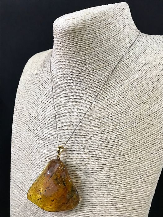 Natural Baltic Amber Gold Plated Silver - Massive Pendant with 4 Insects - Natural (untreated)