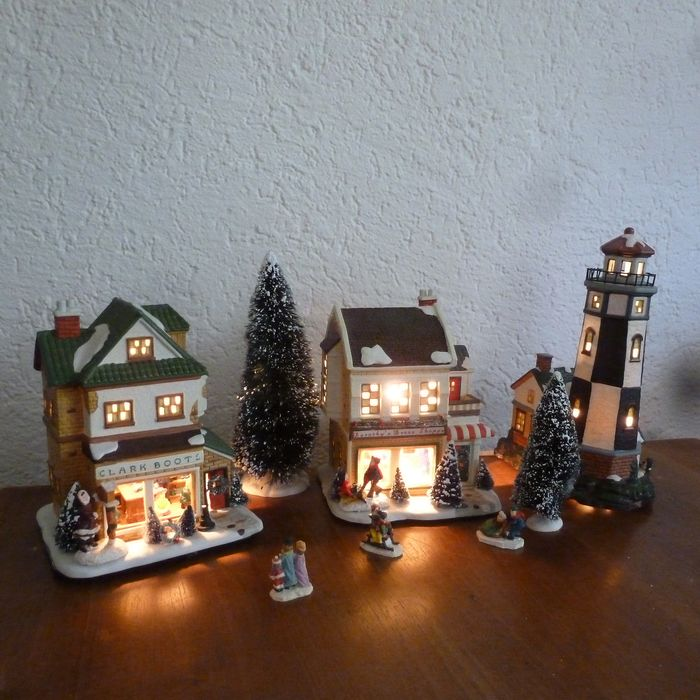 Three (3) Larger Dicksenville Christmas houses, trees and figurines - Earthenware
