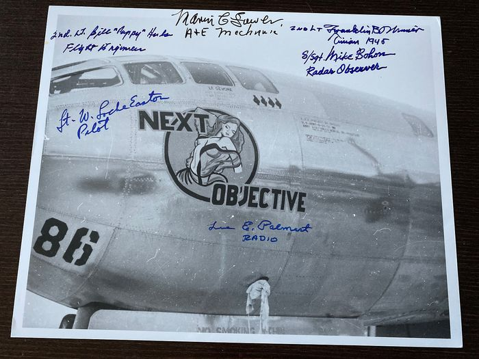 "The B29 ""Next Objective""  393rd Bomb Squadron- photograph - hand signed by the crew"