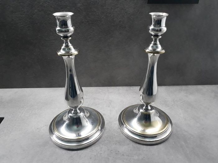christofle - couple of candlesticks - silver-plated brass-plated alpaca