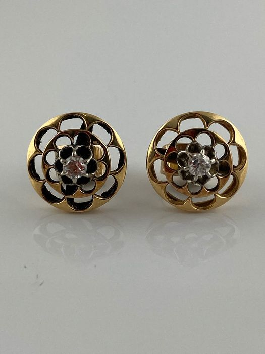 18 kt. White gold, Yellow gold - Earrings Diamond