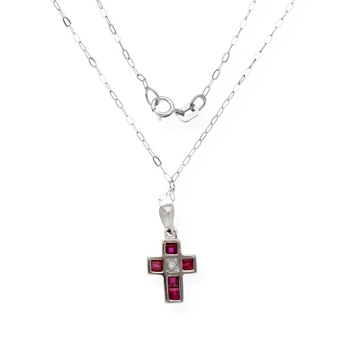 18 kt. White gold - Necklace with pendant Diamond - Rubys