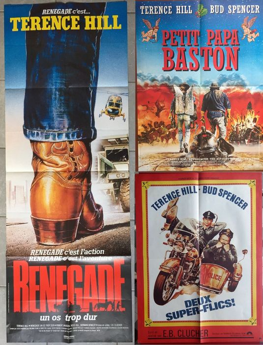 Terence Hill - 3 Original French cinema posters  Troublemakers / They call me Renegade / Crime Busters