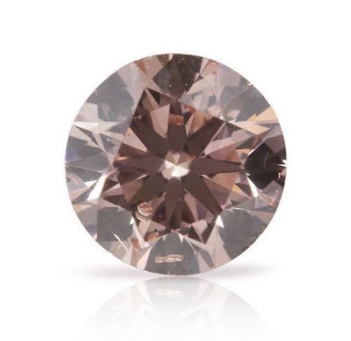 1 pcs Diamant - 0.26 ct - Rond - fancy brownish orangy pink - Non mentionné sur le certificat