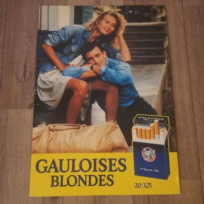 Double-sided Cardboard Advertising Board from Gauloises Blondes 20 / 3.75 1994 - Cardboard