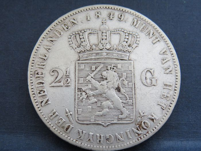 The Netherlands - 2 1/2 Gulden 1849 Willem lll schaars - Silver