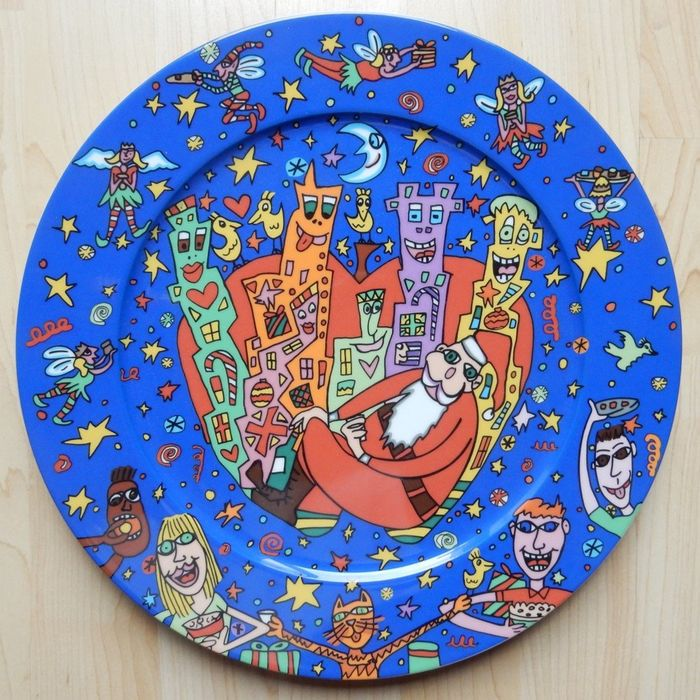 James Rizzi - Plate Christmas 2000 with Santa Claus (Rosenthal)
