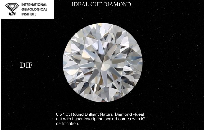1 pcs Diamond - 0.57 ct - Brilliant, #022  3EX  IDEAL - D (colourless) - IF (flawless)