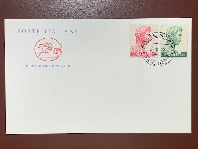Italy Republic 1957 - FDC little horse - St. George high values 500 and 1,000 lire